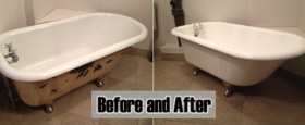 A fully resurfaced claw foot tub