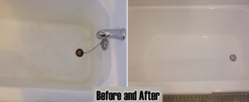 Fully refinished cast iron bathtub