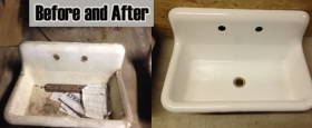 Refinished old cast iron, farmers sinks