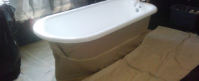 Preparation for bathtub reglazing