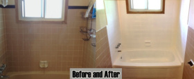 A Full bathroom refinishing with metal tub, surround tiles and soap dish