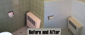 Refinish and reglaze tile and toilet paper holder