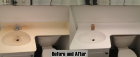 A reglazed one piece sink and counter with cultured marble sink