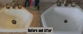 A reglaze cast iron sinks and tub strip