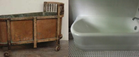 A 1850's bathtub and a cast iron Art Deco Tub