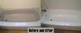 A reglazed, 3 wall standard metal standard apartment bathtub